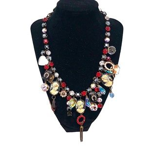 SWEET ROMANCE RED, BLACK, CLEAR STATEMENT NECKLACE